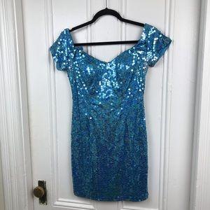 Vintage 1990s blue sequin off shoulder mini dress